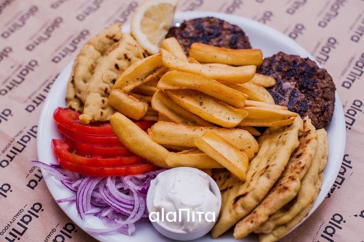 Δοκιμάστε ότι σας αρέσει σε Μπιφτέκι  Μπιφτέκι χειροποίητο ή με τυρί τυρί σέντρα ή ακόμα και με Μπέικον !! A La Pita  Τηλέφωνα παραγγελιών: Νίκαια Κουταΐση 31 2104905013  Κερατσίνι  Π.Τσαλδάρη 96 2104001371