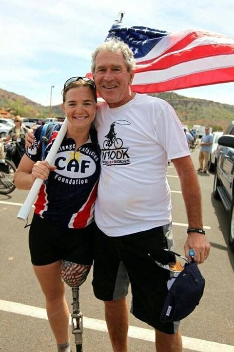 Wounded Warrior Race  2013. Former President George W. Bush rides with Wounded Warriors at his Texas ranch. Inspiring. The last President with any class!