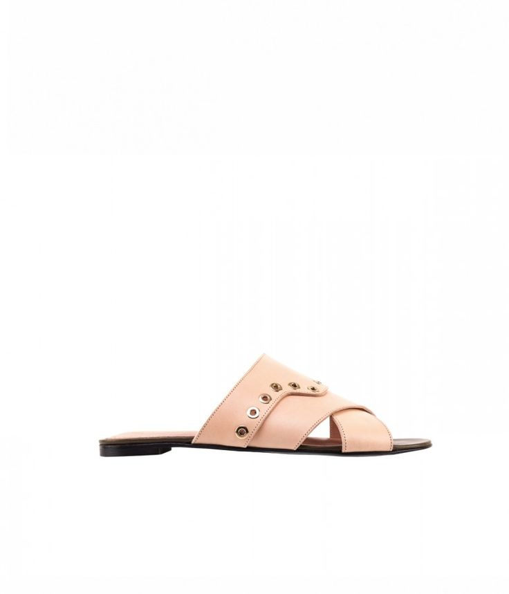 GAVALE Flat mule in smooth calf embelished with eyelet. #robertclergerie #sandal