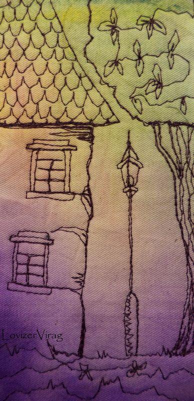 Drawing thread house and candelabre by LoviZerVirag www.facebook.com/ZerVir
