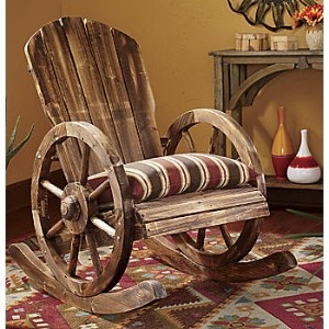 This is so neat! Wagon wheel rocking chair! :D
