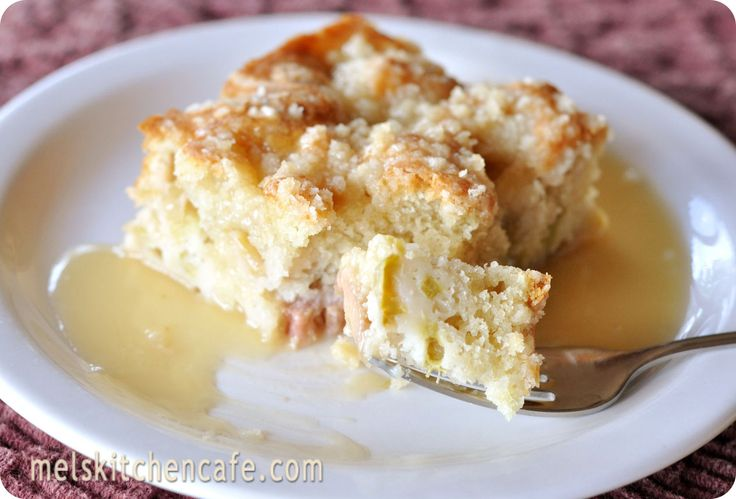 ***Rhubarb Streusel Cake with Warm Vanilla Sauce --- would be good w/o the sauce too.