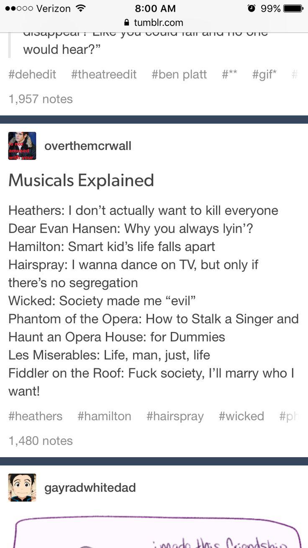 Musicals explained Hamilton Wicked Phantom of the Opera Dear Evan Hansen Les Mis