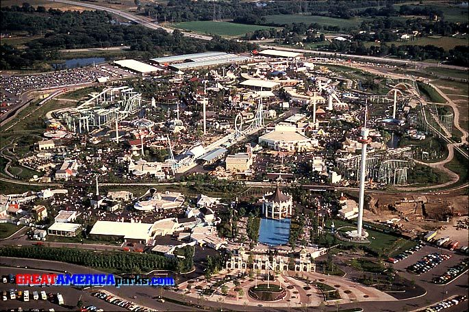 Mariott's Great America. This aerial view of Gurnee is from 1978. To the right of the Sky Trek Tower, site preparation for 1979's Pictorium is underway.: Senior Year