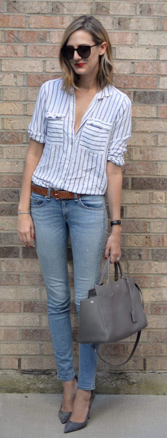 #spring #outfits  Striped Shirt