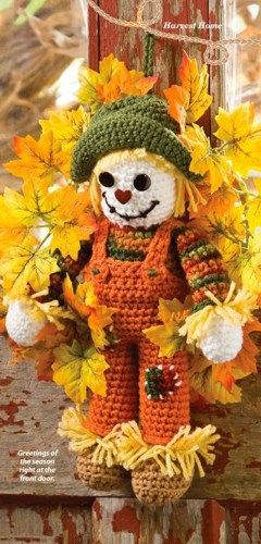 **PATTERN ONLY - Not the Finished Product - PATTERN ONLY**  W707 Crochet PATTERN ONLY Scarecrow Wreath Pattern Fall Thanksgiving  Offered is a Crochet Scarecrow Wreath Pattern....Finished Size of Scar