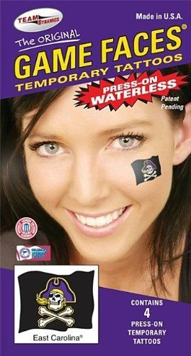 East Carolina ECU Game Faces Waterless Temporary Jolly Roger Tattoos by Game Faces. $3.25