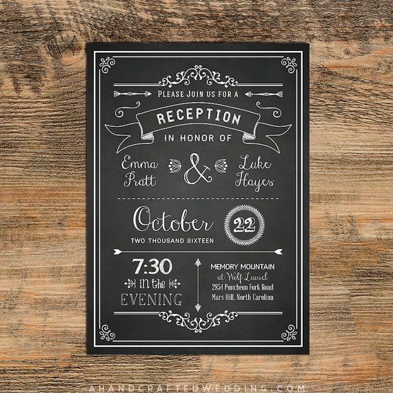 chalkboard diy reception only invitation template