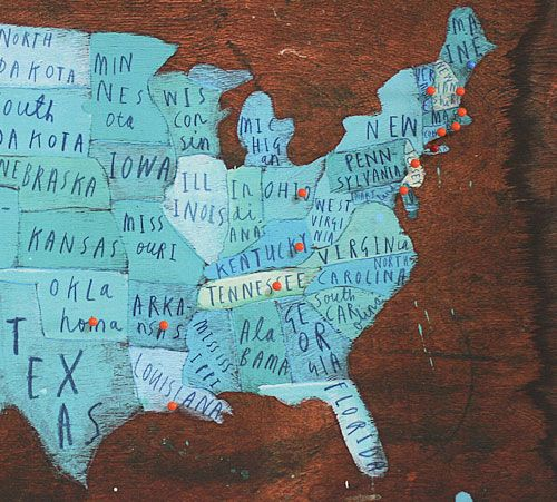 I love the idea of a map showing where we've been - though it would have to be a world map!