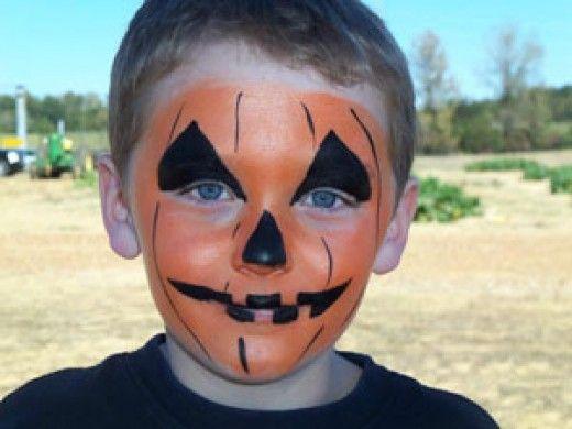 Pumpkin Face for Little Boy  http://makinbacon.hubpages.com/hub/pumpkinjackolanternfacepaintingchildrenhalloween