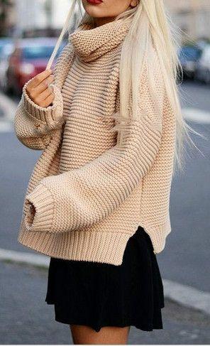 Women's Turtleneck Side Slit Knit Pullover Sweater
