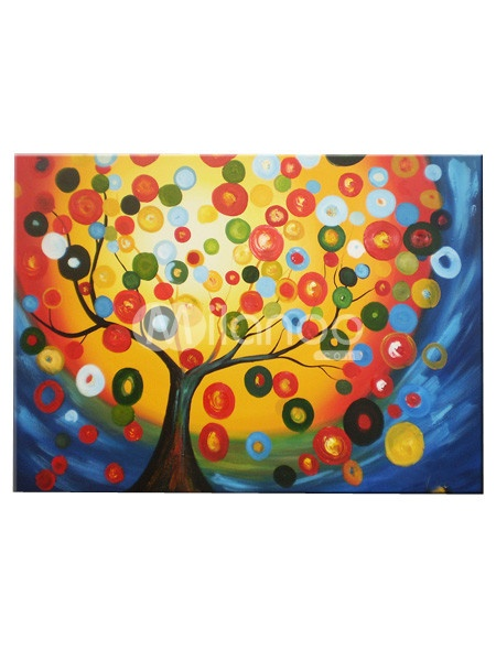 Hand-Printed Money Tree Canvas Oil Painting $33.99