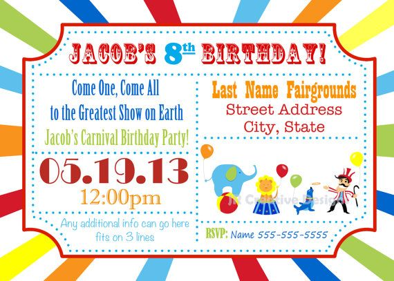 17 Best ideas about Circus Invitations on Pinterest | Circus party ...