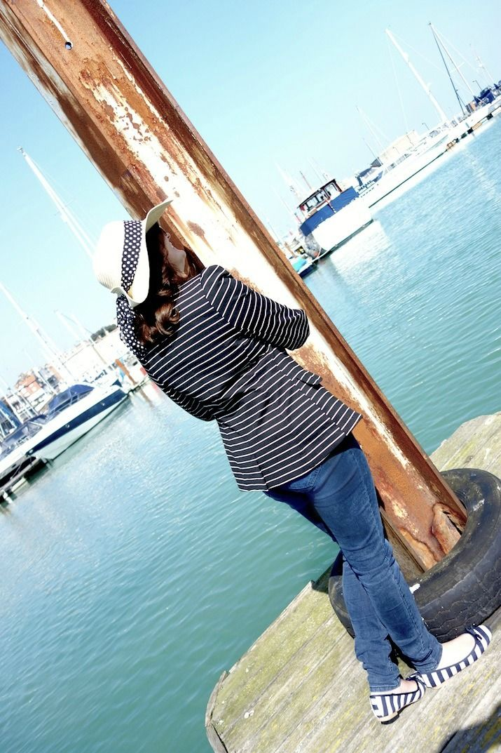 A nautical themed outfit mixing sops and stripes. #barefacedchic