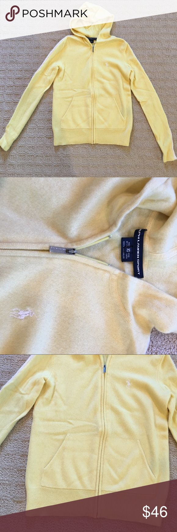 Ralph Lauren Sport yellow cashmere sweater XS Yellow zip up hoodie sweater in a light yellow color. White cannot trim brown the sleeves. Super soft cashmere. In great condition with no holes or stains. XS Ralph Lauren Sweaters