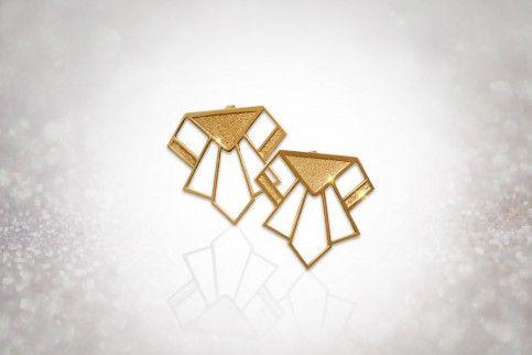 """Boucles d'oreilles """"Paul"""" dorées Alkalene http://www.showstyle.lu #bijouxaztèques #bijouxcreateur #artdecobijoux #année60"""