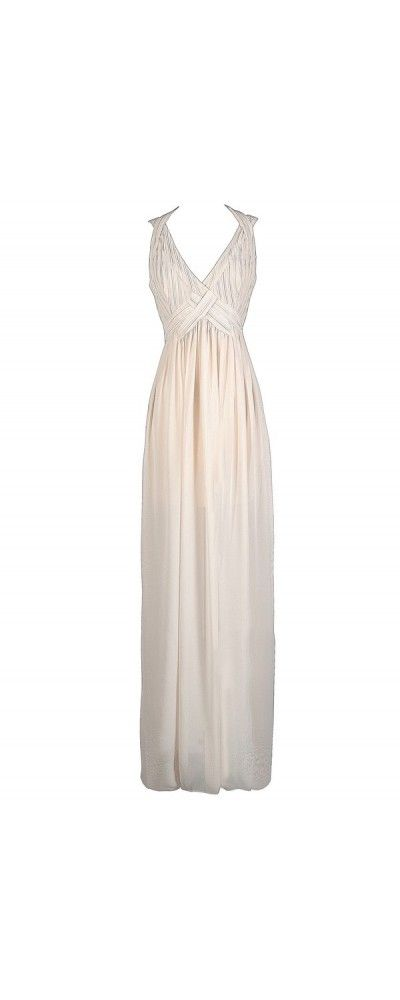 Breathtaking Beauty Chiffon Designer Maxi Dress in Ivory  www.lilyboutique.com