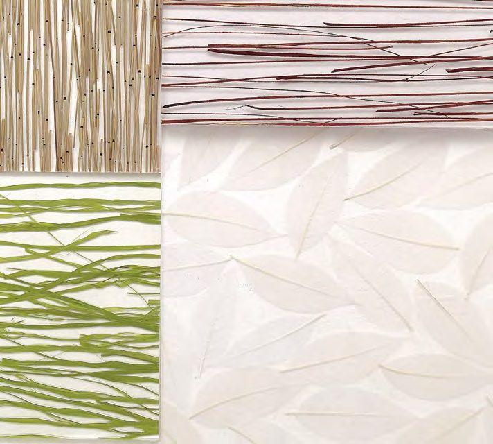 Ambiente Fresco. Simples, modernas y versátiles, las texturas para paredes y techos de la firma Interna se amoldan a espacios residenciales y comerciales. Están fabricadas en pulpa de bambú, un recurso renovable, pues ningún árbol fue cortado para el desarrollo de este producto. Son de uso interior y están disponibles en paneles de 46 cm x 46 cm de fácil aplicación y listos para instalar.