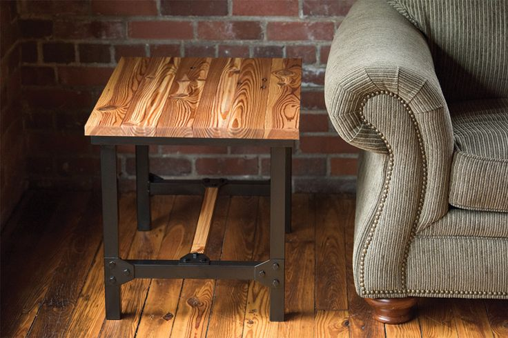 Belmont Collection - 1901 End Table.  Reclaimed wood from the historic Chronicle Mill.