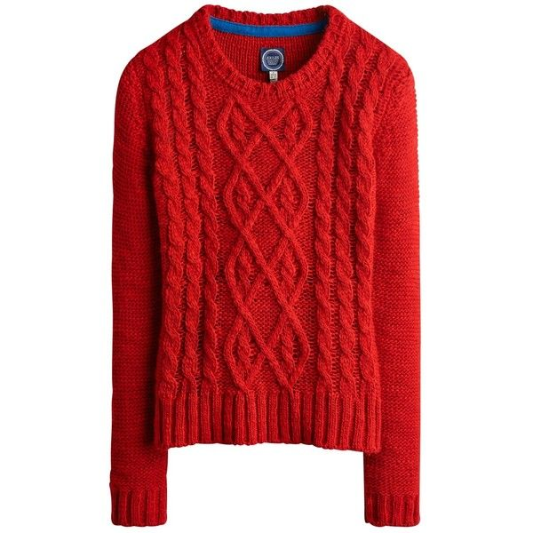 Joules Avelyn Cable Knit Jumper , Red ($97) ❤ liked on Polyvore featuring tops, sweaters, jumpers, outerwear, red, cable jumper, cable sweater, cableknit sweater, red cable knit sweater and chunky sweater