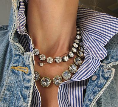 I love the combination of denim and diamanté.