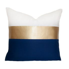 Navy and Gold Block pillow