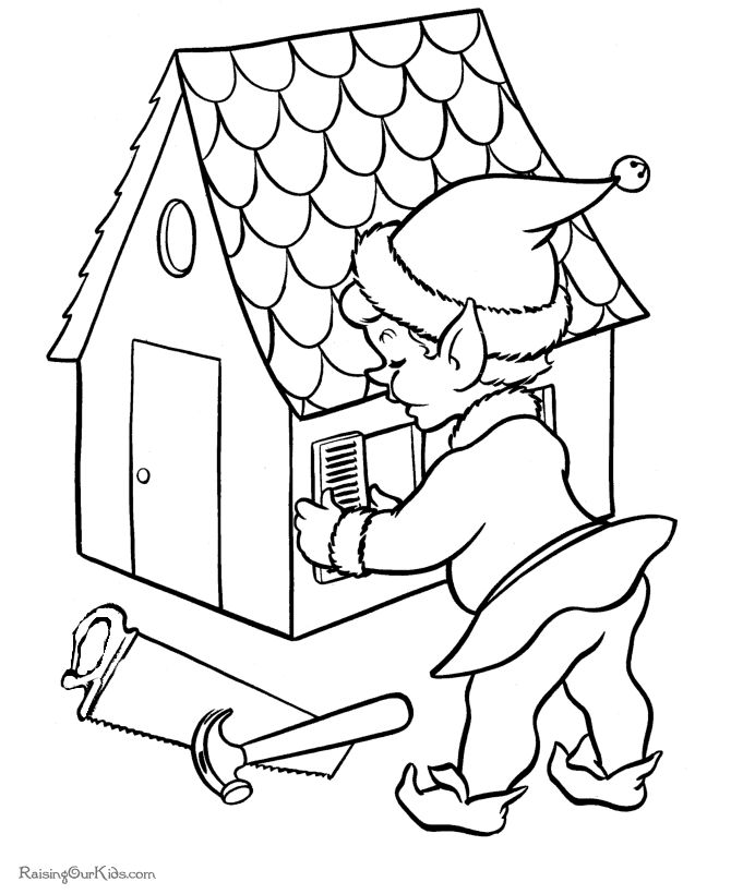one of santas elf free printable coloring page