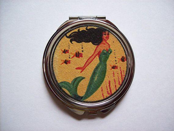 retro mermaid compact vintage 1950's pin up girl pocket