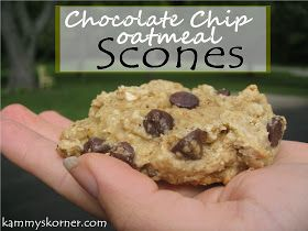 Kammy's Chocolate Chip  Oatmeal Scones   Ingredients:  2 eggs  1 cup brown sugar  3/4 cup milk  2 tablespoons oil  2 cups dry oatmeal  ...