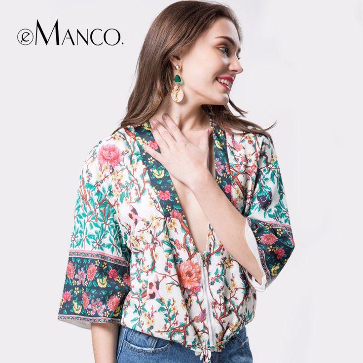 e-Manco summer womens bohemian tops plus size blusas mujer de moda manga corta 2017 sexy chiffon cardigans floral print shirts  #Affiliate