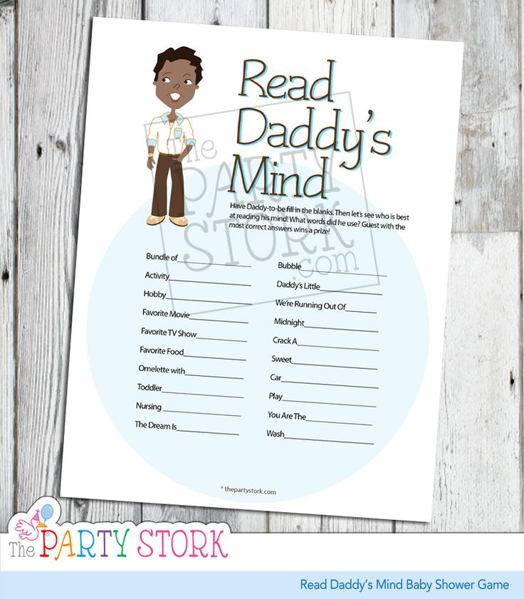 African American Baby Shower Game, Read Daddyu0027s Mind, PRINTABLE, Many  Unique Games Available, Finish Daddyu0027s Phrase