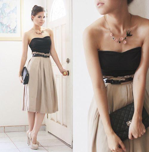 Beautiful, Simple, Stylish. High waisted skirt, black tank top, black skinny belt and nude pumps