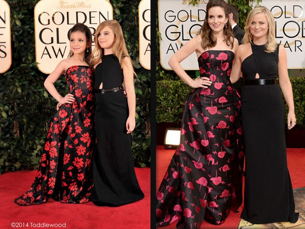 Mini Tina Fey and Amy Poehler vs. actual size Tina Fey and Amy Poehler | Hilariously Strange Kid Versions Of Celebrities At The Golden Globes