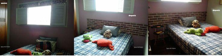 Repaginando quarto com papel de parede em cabeceira da cama e mesinhas de cabeceira feitas de suporte de ferro para jarro + discos de vinil