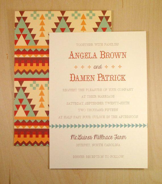 Angela's Aztec Wedding Invitation / Custom by DarbyCardsNashville, $2.40