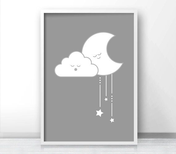 Gray Nursery Wall Art Gender Neutral Baby Wall by LimitationFree