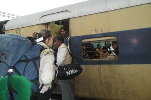 traveling by train in India: always an opportunity to make friends with locals.