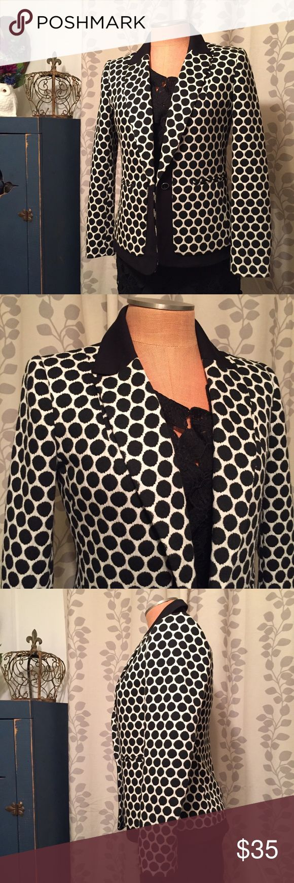 Anthropologie blazer Nice polka dot blazer by Leifnotes, a brand carried by Anthropologie. Single button closure and heavier type soft knit fabric. Labeled a 6 and in great condition! Anthropologie Jackets & Coats Blazers