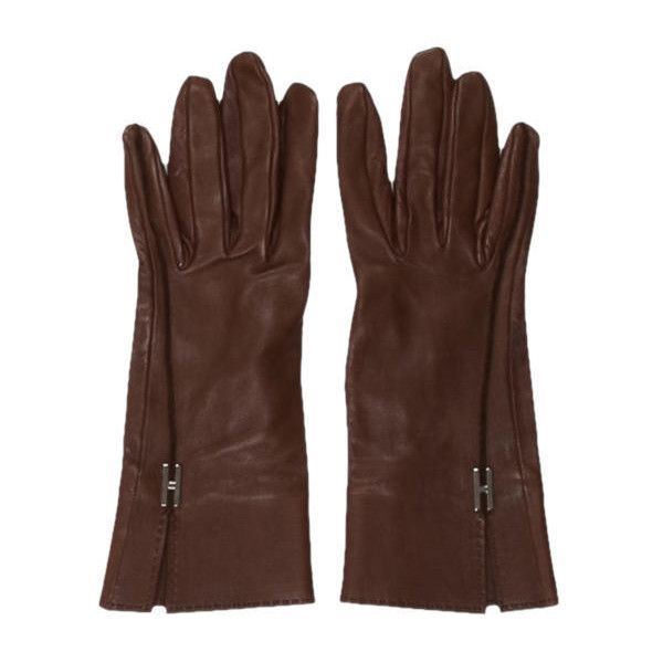 Pre-owned Herm?s Leather Logo Gloves ($475) ❤ liked on Polyvore featuring accessories, gloves, brown, leather gloves, brown leather gloves, hermès, hermes gloves and real leather gloves