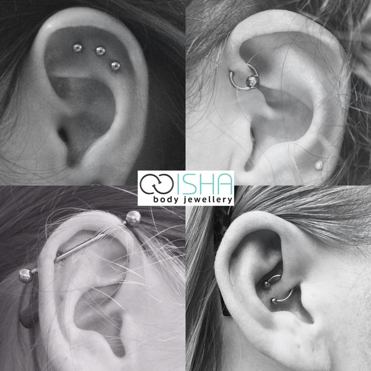 A few ear cartilage piercings recently created by Emma. Which one is your favourite?
