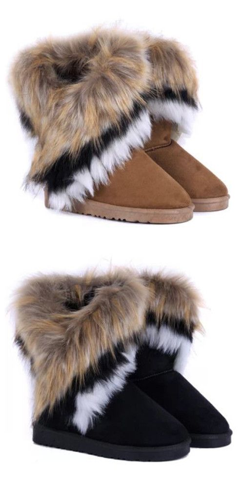 Casual Multicolor Fur Design Mid-Calf Snow Boots For Women