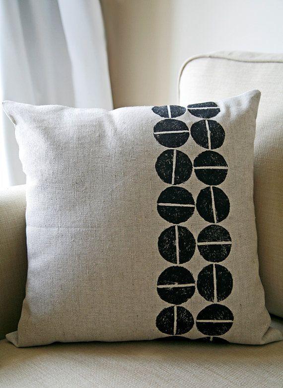 Hand Printed Black On Natural Linen Pillow Cover Retro Modern Block Cushion