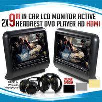 "2x 9"" In car LCD Monitor Active Headrest DVD Player HDMI Game HD Screen Divx USB SD"