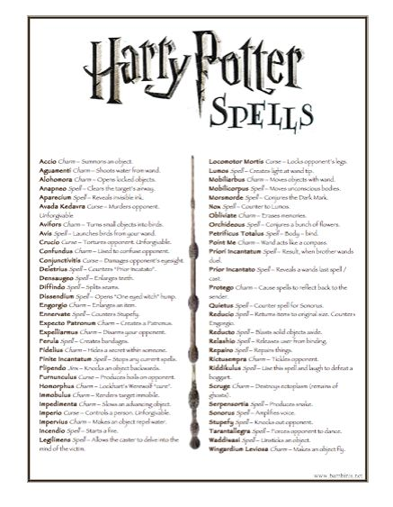 harry potter spell list - Google Search