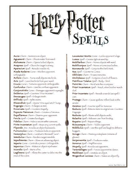 harry potter list of spells