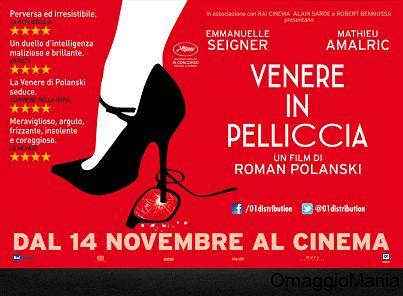 """Vinci biglietti cinema per il film """"Venere in Pelliccia"""" di Roman Polanski - http://www.omaggiomania.com/concorsi-a-premi/vinci-biglietti-cinema-per-il-film-venere-pelliccia-di-roman-polanski/"""