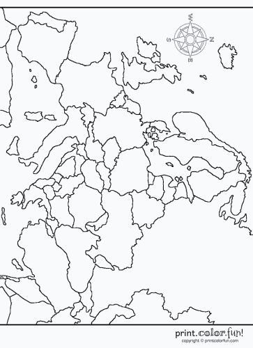 Map of Europe printable Coloring