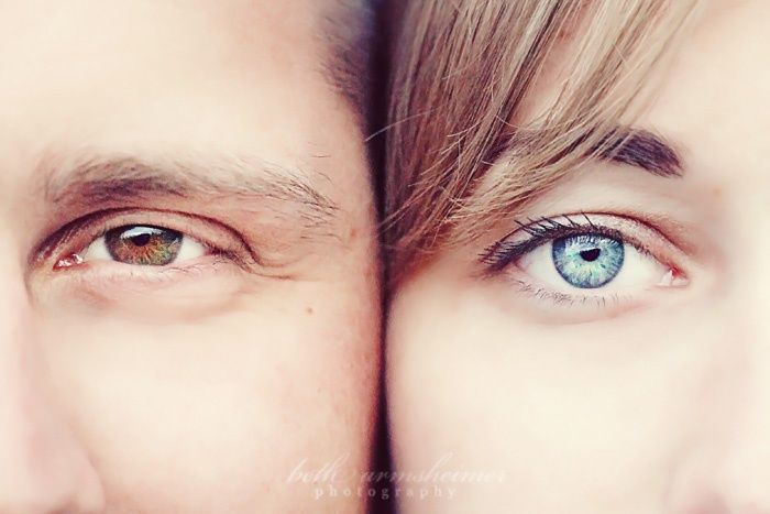 Leuk idee als close-up voor de twee gezichten samen