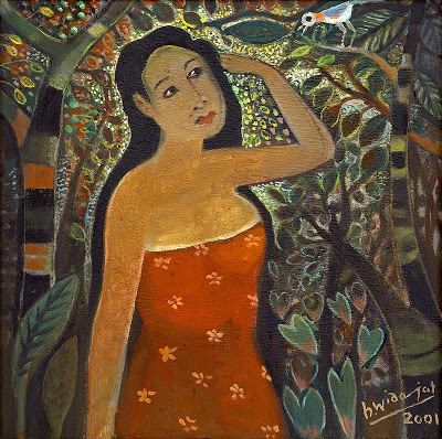 """Dialog dengan burung"" by Widajat, Size: 60cm x 60cm, Medium: Oil on canvas, Year: 2001"