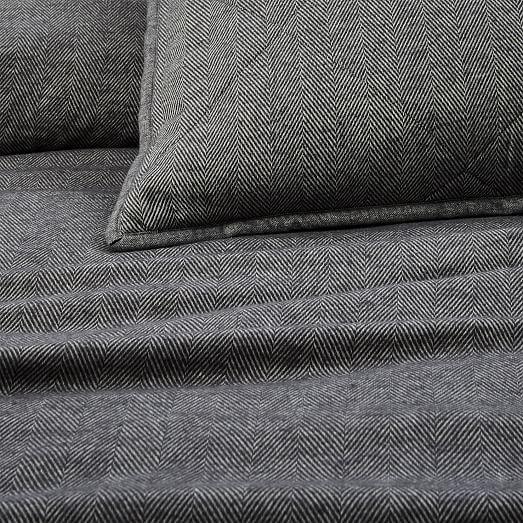 Flannel Herringbone Duvet Cover + Shams | west elm